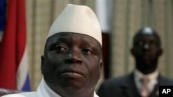 FILE - Gambian President Yahya Jammeh during a press conference following his reelection in Banjul, Gambia, Sept. 2006.