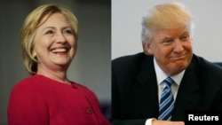 FILE - From left, Democratic presidential nominee Hillary Clinton in Philadelphia, and Republican nominee Donald Trump in New York City.