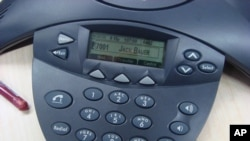 A typical read-out of an incoming caller's name on a desk phone.