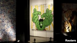 Artwork by Richie Mirando better known as Seen on display at a gallery in the Dubai International Financial Center, Nov. 25, 2014.