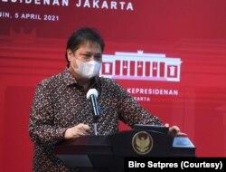 Menko Perekonomian Airlangga Hartarto mengatakan pemerintah perpanjang kebijakan PPKM Mikro mulai 6 April-19 April 2021. (Foto: Biro Setpres)