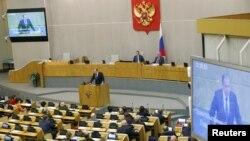 سرگئی لاوروف وزیر خارجه روسیه در حال سخنرانی در مجلس دوما در مسکو - آرشیو
