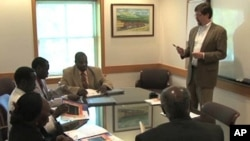 Brian Hanson hosts Sudanese leaders from the state of South Kordofan at Northwestern University in suburban Chicago