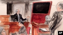 In this courtroom sketch Jan. 27, 2016, Domenico De Sole, a chairman of the board at Sotheby's, gestures towards his fake Mark Rothko painting, at a civil trial in New York at Manhattan federal court.