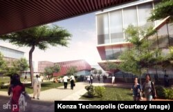 The representation of an artist shows the concept of a university area in the Konza Technopolis plan.