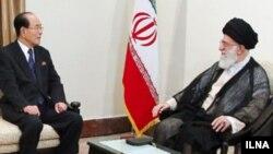 آیت الله خامنه ای، رهبر جمهوری اسلامی ایران با کیم یونگ-نام، رئیس مجمع عالی خلق کره شمالی دیدار کرد