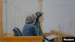 نقاشی از حضور «ونژو منگ» مدیر امور مالی «هواوی» در دادگاه.