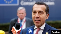 FILE - Austria's Chancellor Christian Kern arrives at a European Union leaders summit in Brussels, Belgium, Dec.15, 2016.