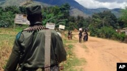 Un soldat congolais patrouille à Mboko, dans le Sud-Kivu, dans l'est de la RDC, 10 novembre 2009