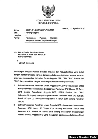 Surat keputusan Bawaslu mengenai mantan terpidana korupsi, hal 1.