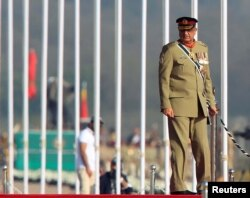 Pakistan's army chief, General Qamar Bajwa, arrives to attend the Pakistan Day military parade in Islamabad, Pakistan, March 23, 2017.