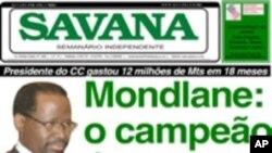 Capa do jornal Savana sobre o caso Mondlane