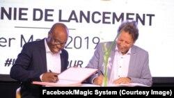 Magic System, groupe star de la musique ivoirienne et l'Union européenne signent un partenariat pour promouvoir des valeurs de paix, de gouvernance en Côte d'Ivoire à Abidjan, Côte d'Ivoire, le 2 mars 2019. (Facebook/Magic System)