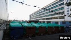 홍콩에서 압류된 싱가포르군 장갑차들이 28일 시내 모처에 보관돼있다.