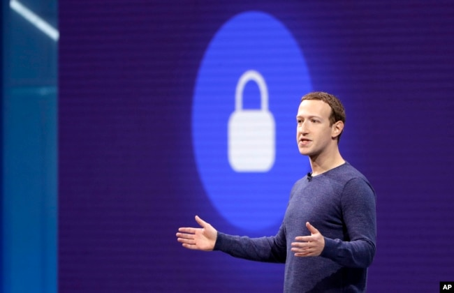 FILE- Facebook CEO Mark Zuckerberg delivers the keynote speech at F8, Facebook's developer conference, in San Jose, Calif., May 1, 2018.