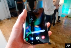 The Samsung Galaxy Fold smartphone is seen during a media preview event in London, April 16, 2019.