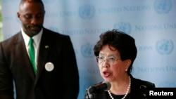 2014年9月25日世界衛生組織總幹事陳馮富珍出席有關伊波拉新聞發佈會。