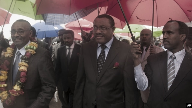 Deputy Prime Minister Hailemariam Desalegn, middle, in Addis Ababa, Ethiopia, during an official function (file photo)
