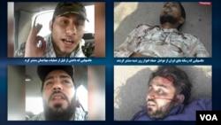 تصاویر سمت راست را رسانه های حکومت ایران از جنازه دو عامل حمله اهواز روز شنبه منتشر کرده بودند که اکنون شبیه دو فیلم ویدئویی (سمت چپ) است که داعش منتشر کرده است.