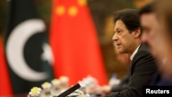 Pakistani Prime Minister Imran Khan attends talks with Chinese President Xi Jinping (not pictured) at the Great Hall of the People in Beijing, Nov. 2, 2018.