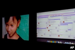 Persons solicit a purported 10-year-old Filipino girl, shown at left in a computer-generated image, through a public chat room, right, while actually chatting to a Terre des Hommes researcher during a media opportunity in Amsterdam, Netherlands in November 2013. The Dutch children's rights organization, seeking to focus attention on the problem of cybersex child trafficking, created the fake 10-year-old girl, and she was bombarded with online offers to pay for webcam sex shows by child predators from around the world.