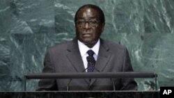 Robert Mugabe, President of Zimbabwe, addresses a summit on the Millennium Development Goals at United Nations headquarters on Tuesday, Sept. 21, 2010. (AP Photo/Richard Drew)