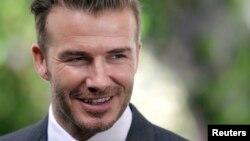 David Beckham dalam sebuah konferensi pers di Miami, Florida (5/2). (Reuters/Andrew Innerarity)
