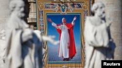 Hình ảnh của Đức Giáo Hoàng Gioan Phaolô Đệ lục tại Quảng trường Thánh Phêrô ở Vatican, ngày 19/10/2014.