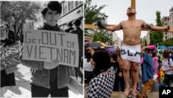 Phong trào phản đối chiến tranh Việt Nam ở Mỹ năm 1968 (trái) và phong trào phản đối bất bình đẳng sắc tộc Black Lives Matter trên đường phố Washington DC hôm 19/6/2020. Nước Mỹ bị chia rẽ sâu sắc trong thập niên 1960 và cả hiện tại.