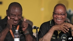 African National Congress (ANC) re-elected President Jacob Zuma, right, with his new deputy Cyril Ramaphosa, left, during their elective conference at the University of the Free State in Bloemfontein, South Africa, Dec. 18, 2012.