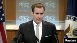 "U.S. State Department spokesman John Kirby speaks during a press briefing in Washington, D.C., July 1, 2016. Kirby said Friday that ""it's common, typical practice"" for politically appointed ambassadors to resign their posts when administrations change."