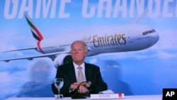 Emirates President Tim Clark speaks to the journalists during a press conference at the opening day of the Dubai Air Show, United Arab Emirates, Nov. 12, 2017.
