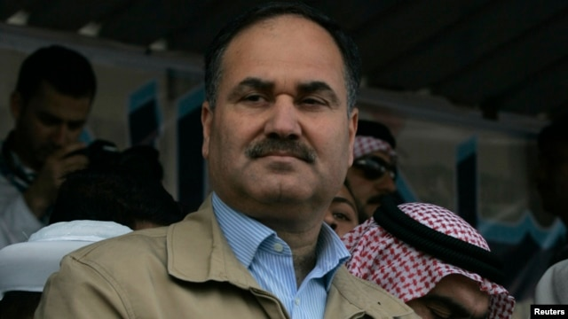 Iraqi Finance Minister Rafie al-Issawi attends an anti-government demonstration in Ramadi, 100 km (62 miles) west of Baghdad, March 1, 2013.