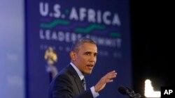 Tổng thống Obama phát biểu trong một cuộc họp báo của Hội nghị thượng đỉnh lãnh đạo châu Phi của Mỹ tại Bộ Ngoại giao ở Washington, ngày 6/8/2014.
