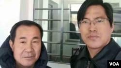 北京维权律师蔺其磊(左)和程海在天津第一看守所 - 微信律师群图片