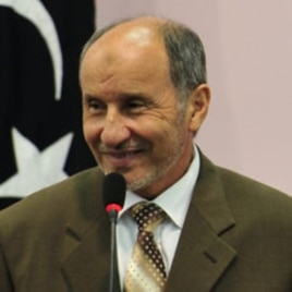 Mustafa Abdel Jalil, chairman of the Libyan National Transitional Council, at a news conference in Benghazi, Libya, August 30, 2011