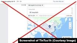 Hình ảnh bản đồ của Facebook đưa Hoàng Sa và Trường Sa vào lãnh thổ của Trung Quốc. (Ảnh chụp màn hình TinTuc1h)