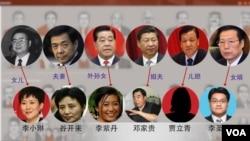 巴拿馬文件透露,中國有些高官的親戚有離岸帳戶,圖片顯示了一部份 (頭像來自網絡,美國之音合成)