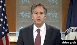 토니 블링큰 미 국무부 부장관이 10일 국무부에서 '2015 국제 종교자유 연례 보고서'를 발표했다.