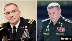 کرتیس اسکاپاروتی ژنرال ارتش آمریکا و فرمانده ناتو (چپ)، و والری گراسیموف رئیس ستاد مشترک ارتش روسیه