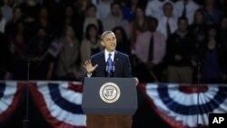 奧巴馬勝選後在芝加哥競選總部發表勝選演說