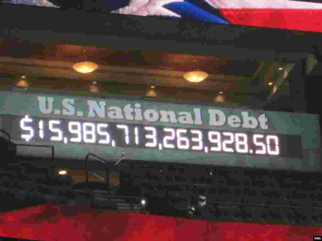 Tableau électronique affichant la dette nationale américaine