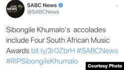 Jazz musician Sibongile Khumalo has died, according to SABC. (Photo: SABC Twitter Account)
