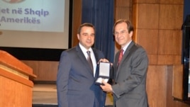 Dir. David Ensor accepts Albanian Presidential award for VOA on 70th Anniversary of Albanian Service