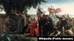 تابلوی ورود کریستف کلمب به دنیای جدید (قاره آمریکا) از «دیوسکورو پوئبلا» نقاش اسپانیایی (۱۸۶۲)