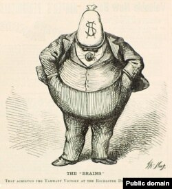 Boss Tweed depicted by Thomas Nast in a wood engraving published in Harper's Weekly, October 21, 1871