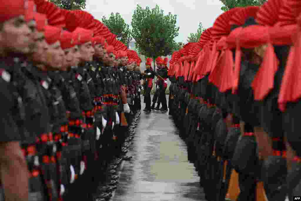 Recruits from the Jammu and Kashmir Light Infantry Regiment (JAKLI) of the Indian Army take part in a passing out parade in Srinagar. The 494 recruits, many of them locals, completed a 49-week training program prior to being absorbed as regular members of the regiment.
