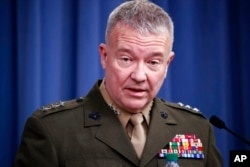 "Letnan Jenderal Marinir Kenneth ""Frank"" McKenzie berbicara di Pentagon di Washington. (Foto: AP)"