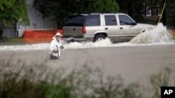 4일 미국 사우스캐롤라이나 플로렌스 시 도로가 폭우로 범람했다.