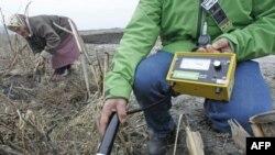 Активист Greenpeace замеряет уровень радиации в поле у украинского села Куповатое, расположенного в 30-километровой зоне у Чернобыльской АЭС. 4 апреля 2011 года